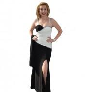 Rochie de ocazie bicolora, cambrata pe corp si slit adanc pe picior