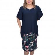 Rochie de ocazie Kori cu imprimeu floral ,bleumarin