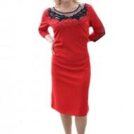 Rochie de ocazie, rosie, cu insertii de margele si strasuri aplicate
