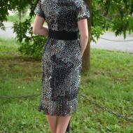 Rochie de primavara-vara, subtire, negru-alb