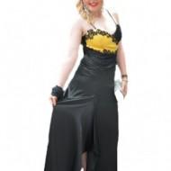 Rochie de seara din sate negru si galben cu dantela aplicata
