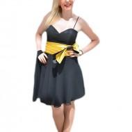 Rochie de seara eleganta, neagra cu insertii galbene deosebite