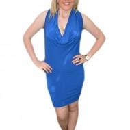 Rochie de seara scurta, albastra, model simplu cu design aparte