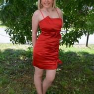 Rochie de seara scurta, rosie, rafinata, cu cute orizontale fronsate