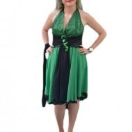 Rochie de seara verde, cu decor de paiete si fronseuri in talie