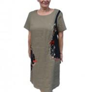 Rochie de vara cu imprimeu, culoare kaki