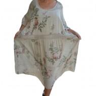 Rochie de vara Elida model cu flori colorate,dantela in talie,nuanta de bej