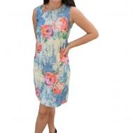 Rochie de zi,Dariela cu imprimeu de trandafiri ,nuanta de albastru