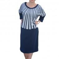 Rochie de zi de culoare bleumarin cu design de dungi oblice