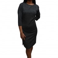 Rochie de zi in nuanta gri usor lucios, cu lungime asimetrica
