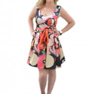 Rochie de zi, multicolora si cu imprimeu floral deosebit