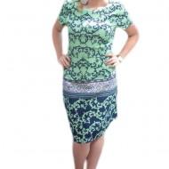 Rochie de zi, usor cambrata, design deosebit, de culoare turcoaz