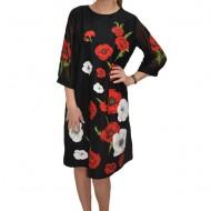 Rochie eleganta, cu imprimeu de maci rosii pe fundal negru