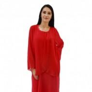 Rochie eleganta de ocazie rosie cu strasuri fine in fata