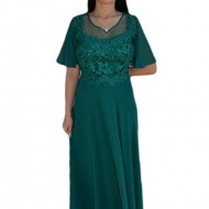 Rochie eleganta din voal combinat cu dantela si perle, greenery