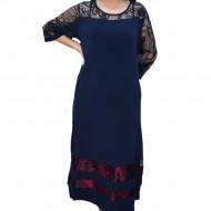 Rochie eleganta Kala cu insertii de dantela,bleumarin