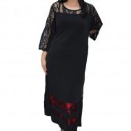 Rochie eleganta Kala cu insertii de dantela,neagra