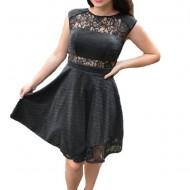 Rochie eleganta Lotte cu dantela si sclipici,nuanta de negru