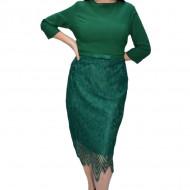 Rochie eleganta Marina cu insertii de dantela,verde