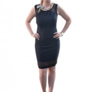 Rochie eleganta, neagra, decor din plasa usor transparenta