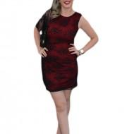 Rochie eleganta, suprapunere de dantela, neagra-rosie