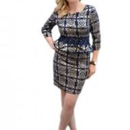 Rochie eleganta tip costum, de culoare bleumarin, cu imprimeu