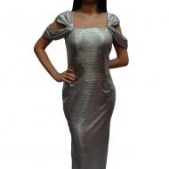 Rochie fashion de culoare argintie, model lung cu decupaje