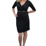 Rochie fashion, de culoare neagra, design interesant si creponat