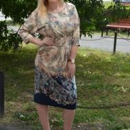 Rochie feminina, culoare bej-bleumarin cu imprimeu