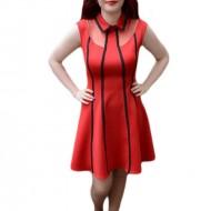 Rochie feminina, nuanta de rosu, design de dungi negre verticale