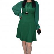 Rochie Ferva cu maneca din voal plisata ,verde
