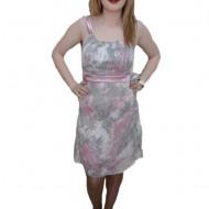 Rochie in nuanta de gri cu insertii de roz, decolteu rotund
