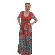 Rochie lejera, de vara, lungime maxi, culoare corai