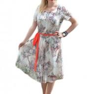 Rochie lejera de vara, masura mare, design multicolor pe fond alb