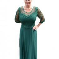 Rochie lunga de seara din voal si dantela, culoare verde