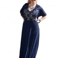 Rochie lunga de seara, masura mare, nuanta bleumarin cu dantela