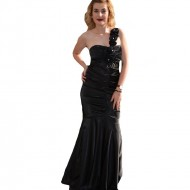 Rochie lunga. eleganta, saten negru, model tip sirena, one-shoulder