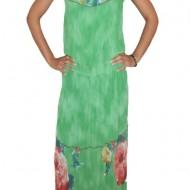 Rochie lunga, vaporoasa de vara, culoare verde cu imprimeu floral