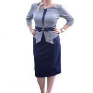 Rochie masura mare cu aspect de costum de culoare bleumarin