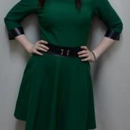 Rochie moderna, de culoare verde, insertii de piele ecologica