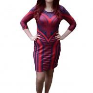 Rochie mulata, nuanta de rosu-bleumarin, design geometric