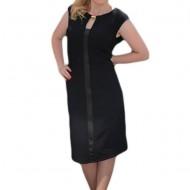 Rochie neagra in stil gotic cu insertie de piele ecologica in fata