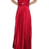 Rochie plisata din saten rosu cu insertie de paiete stralucitoare