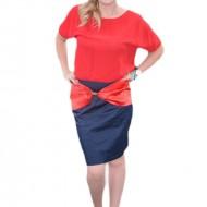 Rochie rafinata cu aspect de costum, culoare bleumarin-rosu