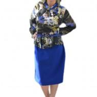 Rochie rafinata, de culoare albastru-multicolor cu peplum