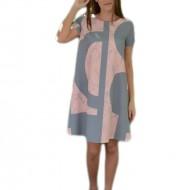 Rochie rafinata de zi cu design gri-roz pudra si maneca scurta