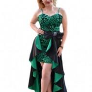 Rochie tinereasca de gala, cu design animal-print negru-verde