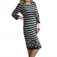 Rochie tinereasca masura mare, design de dungi gri cu negru