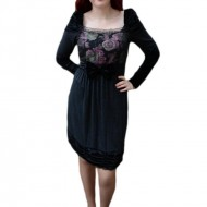 Rochie vintage, nuanta de negru-mov, imprimeu floral