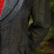 Sacou modern, culoare gri, cu maneca lunga si aspect tineresc